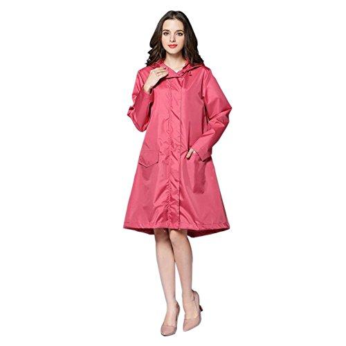 Hzjundasi Femmes Raincoat Imperméable Portable De plein air Randonnée Veste Anti-pluie Coupe-vent Fermeture éclair Poids léger Poncho Encapuchonné Vêtements de pluie Rose
