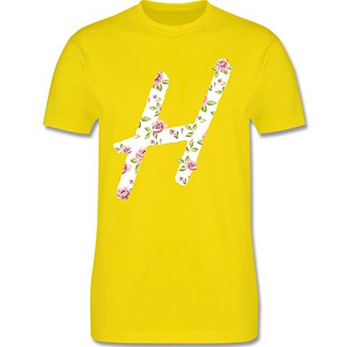 Anfangsbuchstaben - H Rosen - Herren Premium T-Shirt Lemon Gelb