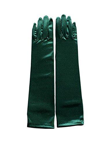 Beiqian Klassische lange Brauthandschuhe mit Fingern Party Dance Ellenbogen Länge Stretch Satin Handschuh - Grün - 38 cm