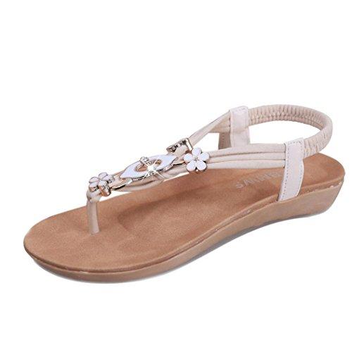 Damen Flache Schuhe Xinan Perlen Böhmen Peep Toe Outdoor Sandalen (39, Beige) (Perlen Flache Sandalen)