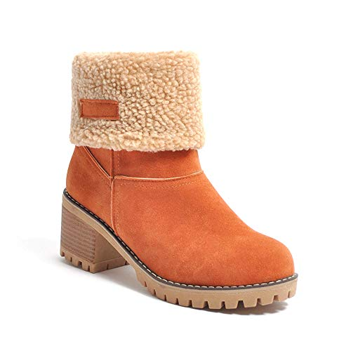 Schneestiefel Damen Stiefel Wasserdicht Kurz Stiefeletten Schuhe Damen Winterstiefel Schlupfstiefel Orange