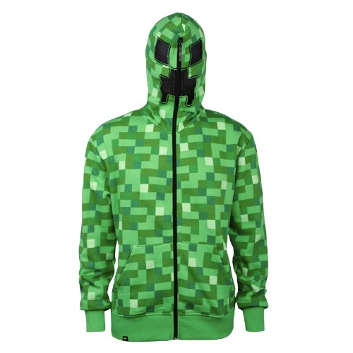 Minecraft Creeper Zip-up Hoodie Kapuzenjacke mit Creeper Kapuze u Game Logo - (Creeper Hoodie)