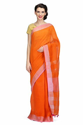 The Weave Traveller Women's Linen Saree (Orange)