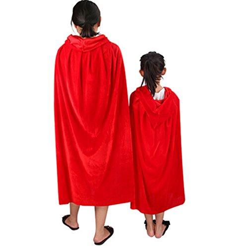 Butterme Unisex Samt Kapuzen Kap Kostüm Umhang Halloween Party Cosplay Umhang Death Cloak für Kinder (50cm)