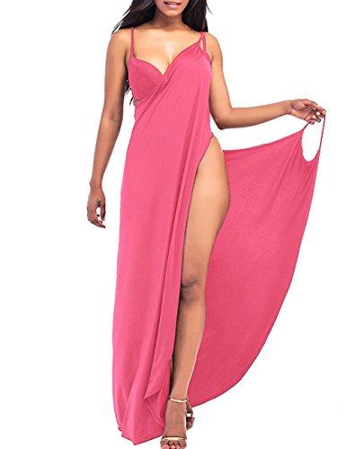 EMMA Damen Sommer Sexy V-Ausschnitt Spaghetti Träger Rückenfrei Einfarbig Sarong Wrap Urlaub lange Strandkleider Strandtuch Towel Bikini Cover Up Pareos S-XXL(PI,L)