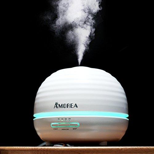 Humidificateur d'air / Diffuseur /Huiles essentielles/300ML 7 Couleurs Humidificateur Ultrasonique Diffuseur Aroma pour le salon de beauté SPA Yoga Chambre Salon, Blanc (001)
