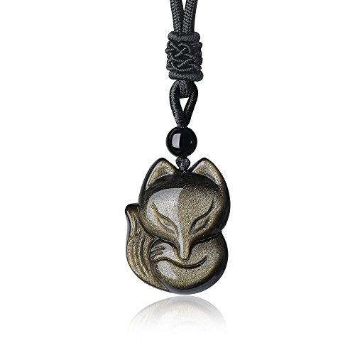 coai Geschenkideen Kette mit Fuchs-Anhänger aus Obsidian Gold Glückskette Halskette für Damen und Herren