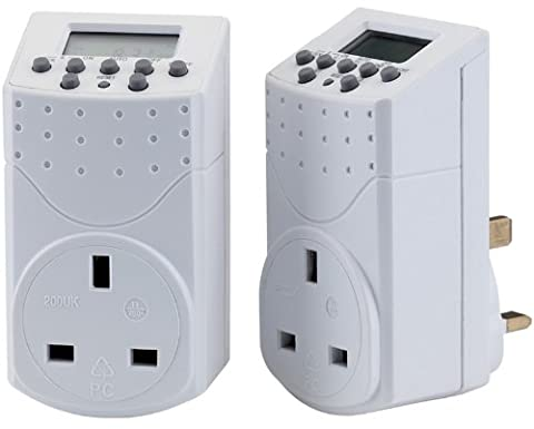 PACK OF TWO 230V 7 DAY DIGITAL TIMERS - 140 programmable on/off settings per week, countdown and random functions. AM, PM or 24 hour settings. Battery back up. Rated 8A/2000W. Correctly used this timer can save the user energy and money. Display packed in twos.