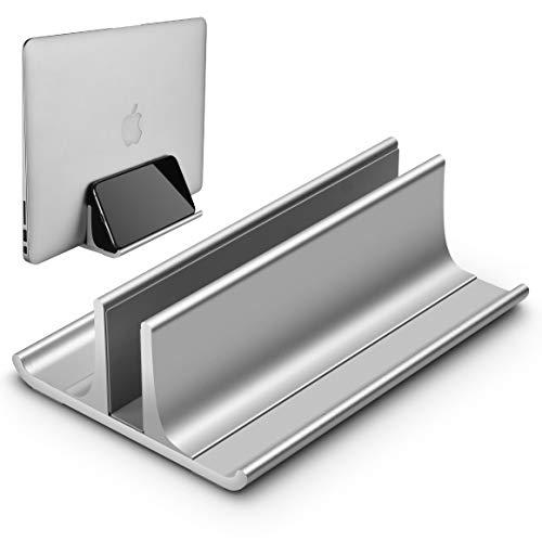 Honkid Vertikaler Laptop Ständer, Verstellbarer Vertikalen Laptopständer Platzsparender StänderTischständer, Aluminium Legierungs Standplatz Kompatibel iPad Pro/MacBook Air/Pro/Surface Pro,Silber -