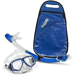 ProDive Premium Tuba-Masque de plongée en Verre trempé résistant aux Chocs, étanche et antibuée [Crystal Clear pour Une Meilleure Vision] Facile Sangle réglable. étanche Gear Sac Inclus.