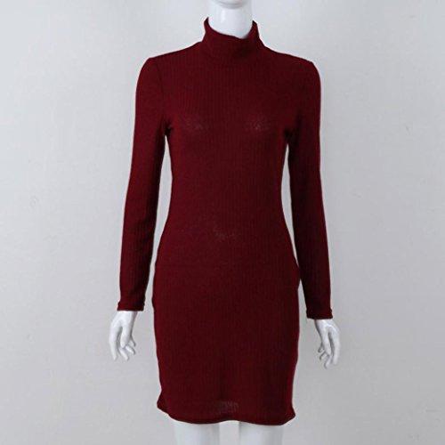 Donna Vestito, Reasoncool Maniche lunghe solide casuali del turtleneck delle donne sopra il vestito da partito allentato dal vestito dal ginocchio Rosso