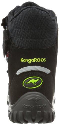 KangaROOS Hitchhike-Velcro Unisex-Kinder Warm gefütterte Schneestiefel Schwarz (blk/blk/lime 558)