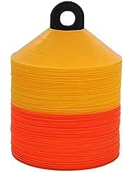 World Sport - Juego de conos de disco, con correa de transporte, 100 unidades Amarillo Orange Yellow