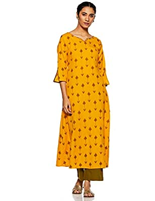 Janasya Women's Cotton Printed A-Line Kurta With Straight Pant