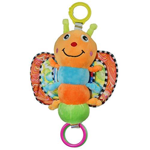KICCOLY Giocattolo per Bambini, Giocattolo per Bambini di Alta qualità, sonaglio in Peluche con Anelli per mordere (Farfalla)