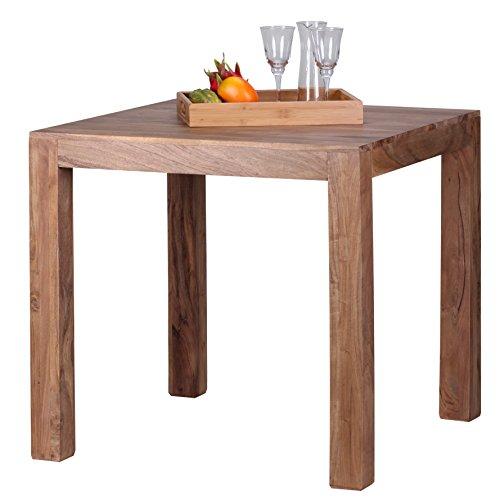 WOHNLING Esstisch Massivholz Akazie 80 x 80 x 76 cm Esszimmer-Tisch Design Küchentisch modern Landhaus-Stil Holztisch quadratisch dunkel-braun Natur-Produkt Massivholzmöbel Echt-Holz unbehandelt