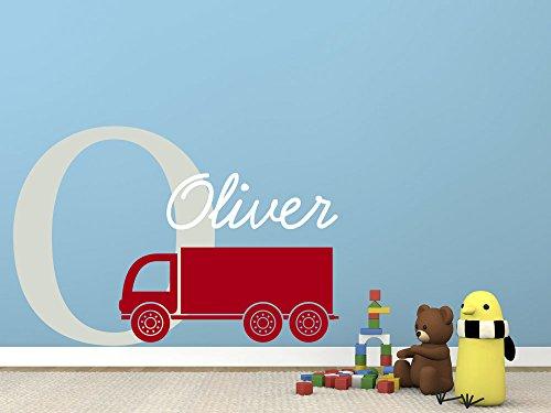 Personalizzabile con il proprio nome, iniziale e Truck.Kids-Adesivo decalcomania da parete in vinile pale grey/red/white