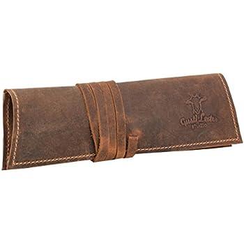Gusti Leder studio Wilena porta penne portacolori astuccio universit/à ufficio vintage vera pelle scamosciata unisex cognac 2S7-22-8
