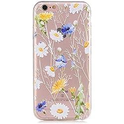 pinlu® Funda para iPhone 6 6S (4.7 Pulgada) Smartphone Suave TPU Silicona Transparente Case Delgada Anti Arañazos Duradero Espalda Cubierta Diseño - Margarita