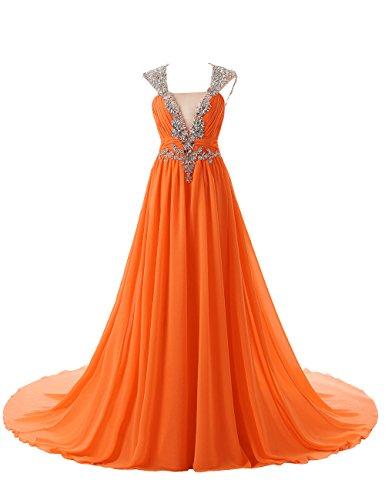 Dressystar Robe de soirée/ de bal à Col en V avec Appliques Décolletée dans le dos,en mousseline Orange