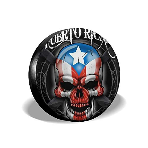 Vbnbvn Reserveradabdeckung, Puerto Rico Skull Potable Polyester Universal Spare Wheel Tire Cover Wheel Covers Jeep Trailer RV SUV Truck Camper Travel Trailer Accessories 15 in -