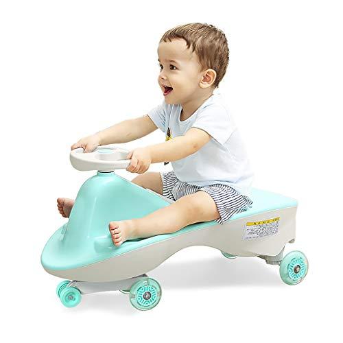 LCM Dreirad-Dreiradauto der Kinder kein Pedalschieber-Babywanderer Anti-Überschlagelternteilkindspiel, das 100kg trägt 2-4 Jahre altes Geburtstagsgeschenk (Color : Green, Size : 37 * 69 * 29CM)