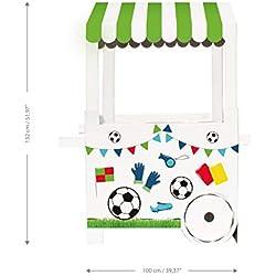 Mery & Lola Party Deco Carrito DE CHUCHERIAS de Cartón Fiesta Football, Medida XL 132 Cm (Alto) x 100 Cm (Ancho) x 59 Cm (Profundidad) - Candy Bar - Candy Cart
