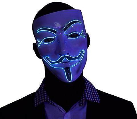 """Batgirl Costumes Pour Tout-petits - Masque """"V pour Vendetta"""" bleu à LED,"""