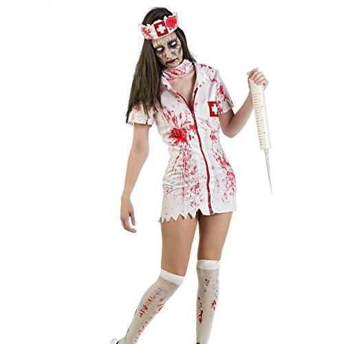 Elbenwald Zombie Kostüm Damen Horror Krankenschwester 3-teilig für -