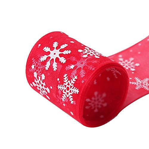 LAAT. Christmas Ribbon Nastri Satin Nastri Rotoli Colorati Poliestere Decorativo Fai da Te Craft Natale Regalo Gift Strap Nastrini Nastro del Grosgrain Decorativo (4cmx23m)