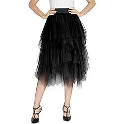 Urban GoCo Femme Vintage Jupon Mi-Longue Jupe en Tulle Taille Elastique Multi Couché Petticoat Tutu (S, Noir)