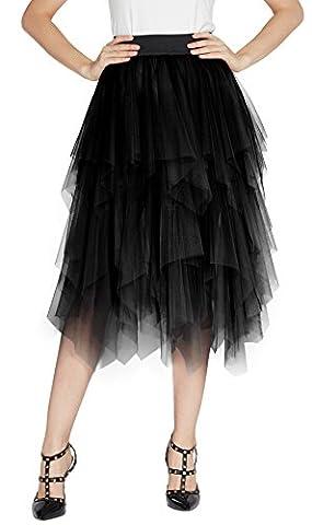 Urban GoCo Femme Vintage Jupon Mi-longue Jupe En Tulle Taille Elastique Multi Couché Petticoat Tutu (XL, Noir)