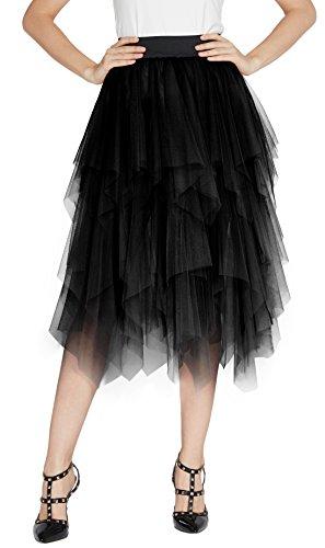 Urban GoCo Donna Retro Tutu Gonna in Tulle Elastico Stile Rockabilly Gonne a Pieghe Petticoat Nero