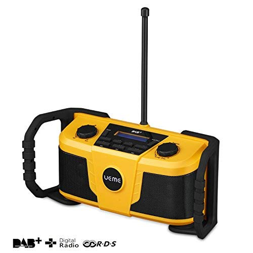 UEME Baustellenradio DAB+/DAB/FM Radio, Digitalradio mit Bluetooth und Wecker und Dimmer, Robustes DAB Plus Radios DB-322 (Gelb-Schwarz)