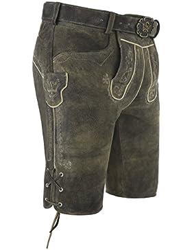 Michaelax-Fashion-Trade Spieth & Wensky - Herren Trachten Lederhose mit Gürtel, Biberach (250942-0613)