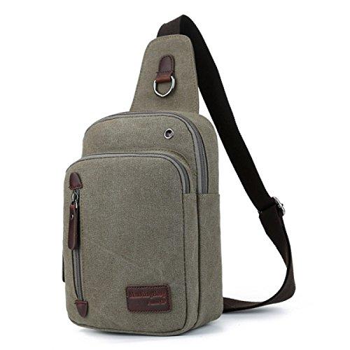 BULAGE Brusttasche Mode Freizeit Männer Leinwand Brusttasche Messenger Kompakt Leicht Langlebig Vielseitig Langlebig ArmyGreen