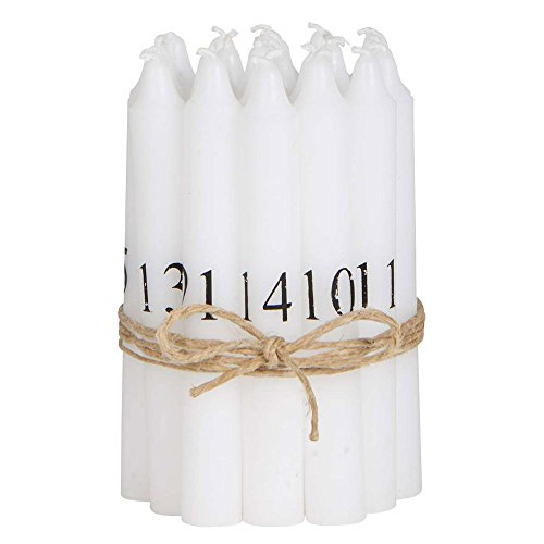 IB Laursen - Baumkerzen, Kerzen, Adventskalender, Tannenbaumkerzen, Adventskerzen - mit schwarzen Zahlen 1-24 - Ø1,3xH10 cm