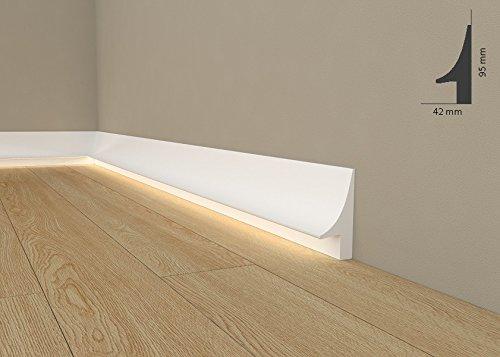 """*TOPSELLER* Licht Fußleiste """"QL007"""" - Sockelleiste für indirekte Beleuchtung (aus hochfestem Polyurethan)"""