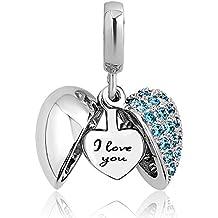 Uniqueen Jewellery, breloque I Love You Heart avec perles, pour bracelet