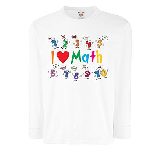 Kinder-T-Shirt mit Langen Ärmeln Ich Liebe die Mathematik - pädagogisches Geschenk - Zurück zu Schule oder Graduation Day Clothing (9-11 Years Weiß Mehrfarben)