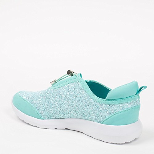 Ideal Shoes–Sneaker bi-materiale con parte effetto glitter Salia Turchese (Turchese)