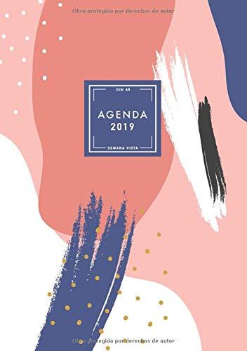 Agenda 2019 Semana Vista, Din A5: Agenda Mensual y Semanal, Organizador, 12 Meses, Español, Diseño Grafico Creativo (Enero a Diciembre 2019)