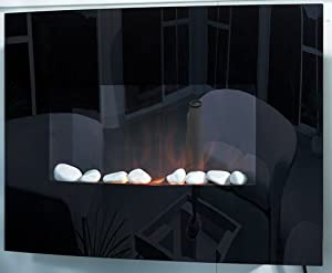 Wall Mounted Electric Fire Fireplace Flicker Living Flame Glass Compact Heater