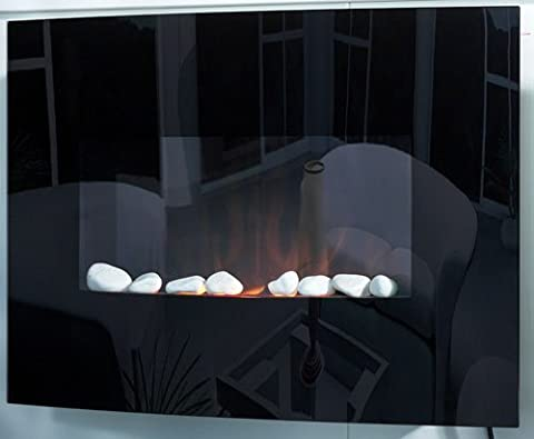 WARWICK COMPACT BLACK CURVED GLASS MIRROR PANEL WALL MOUNTED ELECTRIC FLICKER LIVING FLAME FIRE FIREPLACE