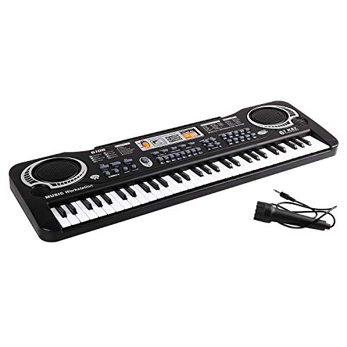 Kinder Keyboard, 61 Tasten Klaviere Multi-Funktion Keyboard Kind Elektronische Orgel mit Mikrofon, Musikinstrument pädagogisches Spielzeug Geschenk für Kind Kinder Kleinkinder(Schwarz)