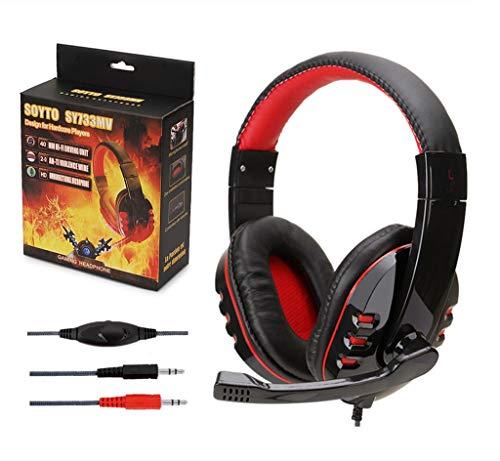 PL Stereo Gaming Headset für PC Gamer, Geräuschunterdrückung, Over-Ear-Kopfhörer mit Mikrofon 3,5 mm für PC Laptop Smartphone rot Rfi-splitter
