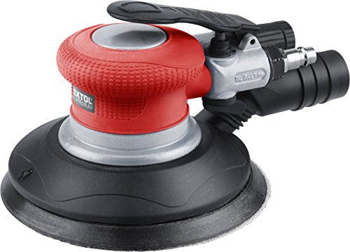 Extol Premium Druckluft-Exzenterschleifer Schwingkreis 150 mm, Drehzahl 10500/min, Kupplung 1/4 Zoll, 1 Stück, rot, 8865038