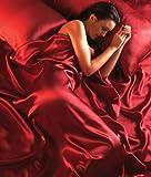 Seitenschläferkissen - Luxus Rot Satin 6 tlg. Bettwäsche 200x200cm + Laken+ Kissenbezüge