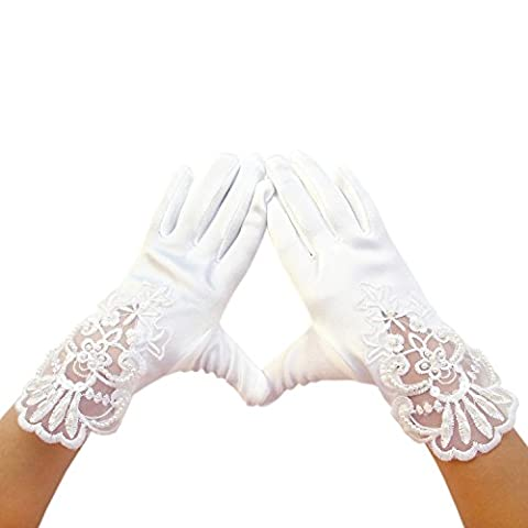 les filles de fleurs gants en satin de poignet pour