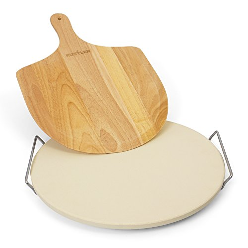 Aufnahmen Kuchen (Rustler Pizzastein-/ Brotbackstein ø38 cm mit Edelstahl-Gestell + Pizzaschieber aus Holz | für Pizza, Flammkuchen, Brot, Quiches und Kuchen | für Backöfen, Holzkohle- und Gasgrills geeignet)